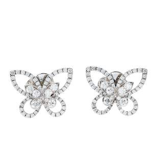 Graff Butterfly Silhouette Diamond 18K White Gold Stud Earrings