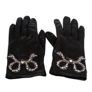 Gucci Black Leather Crystal Patch Gloves Size S