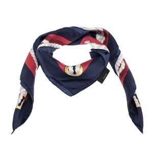 Gucci Multicolor Nautical Ropes Silk Twill Square Scarf