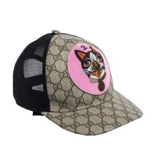 Gucci Beige GG Supreme Bosco Patch Detail Baseball Cap L
