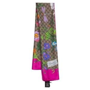 Gucci Pink GG & Big Flora Fluo Print Silk Scarf