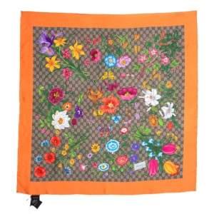 Gucci Orange GG Floral Print Silk Scarf