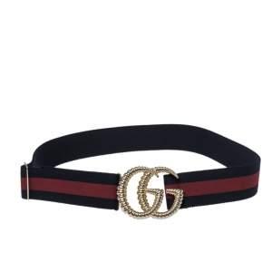 Gucci Blue/Red Elastic Web Canvas Torchon Double G Buckle Belt 80CM