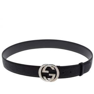 Gucci Black Guccissima Leather Interlocking GG Buckle Belt 90cm