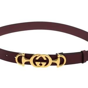 Gucci Burgundy Leather Interlocking G Horsebit Buckle Belt 90CM