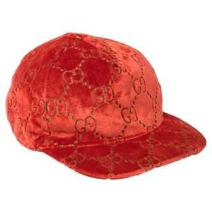 Gucci Red GG Velvet Baseball Cap M