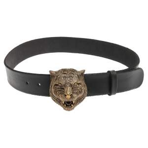 Gucci Black Leather Tiger Belt 80 CM