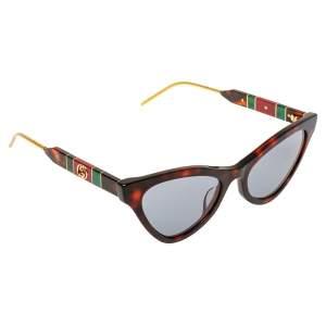 Gucci Havana/Grey Interlocking GG GG0597S Cat Eye Sunglasses