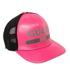 Gucci Pink/Black Leather and Nylon Logo Baseball Cap S