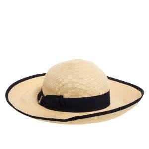 Gucci Cream & Black Bow Detail Straw Hat L
