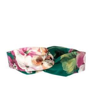 Gucci Green Blooms Print Silk Headband