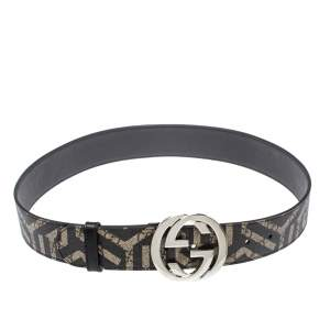 Gucci Beige/Black GG Caleido Supreme Canvas Interlocking G Buckle Belt 85 CM