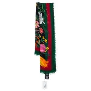 Gucci Black Floraweb Printed Wool & Silk Square Scarf