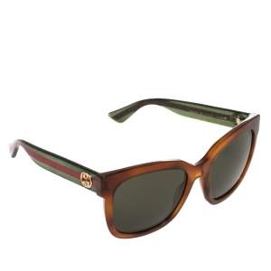 Gucci Brown/Green Web Stripe GG0034S Square Sunglasses
