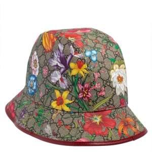 GG Beige Cotton Blend Flora Print Bucket Hat XL