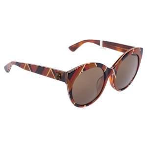 Gucci Brown/Multicolor Print Acetate GG0028SA Round Sunglasses