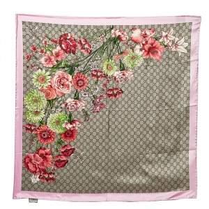 Gucci Multicolor Bouquets Printed Silk Square Scarf