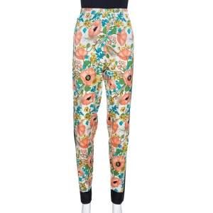 Gucci Multicolor Floral Printed Stretch Silk Elasticized Waist Pants XL