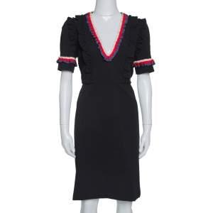 Gucci Black Jersey Web Trim Ruffled Sheath Dress L