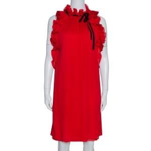 Gucci Red Silk Ruffle Detail Shift Dress L