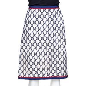 Gucci Navy Blue & Cream GG Macrame Overlay A-Line Skirt M