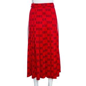 Gucci Red Cotton GG Jersey Web Skirt XS