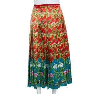 Gucci Multicolor Floral  Pleated Silk  Skirt M
