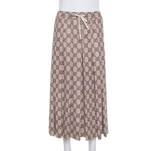 Gucci Beige Guccissima Printed Knit Pleated Midi Skirt XS