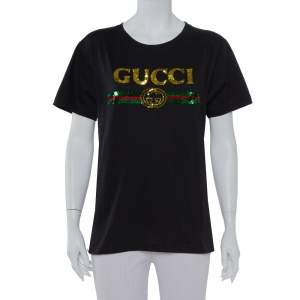 Gucci Black Cotton Sequin Embellished Tiger & Logo Detail Oversized T-shirt XS