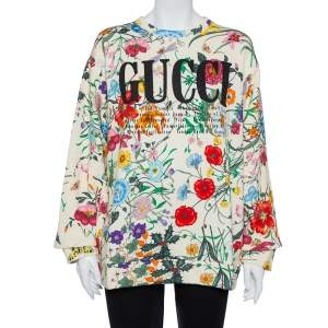 Gucci Cream Flora Print Cotton Crewneck Oversized Sweatshirt M