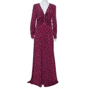 Gucci Burgundy Heartbeat Print Silk Ruched Detail Maxi Dress M