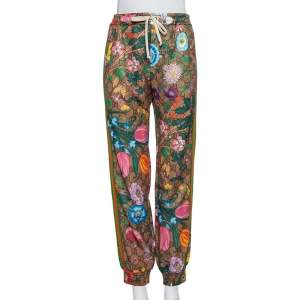 Gucci Brown Floral Printed Knit Joggers S