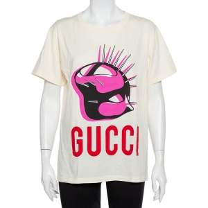 Gucci Cream Manifesto Logo Printed Cotton Oversized Crewneck T-Shirt XS