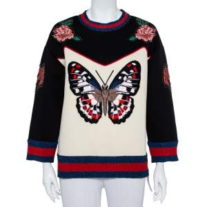 Gucci Multicolor Bonded Cotton Butterfly Embroidered Jumper L