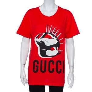 Gucci Red Logo Mask Print Cotton Oversized T-Shirt XS