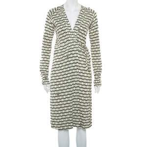 Gucci Cream Printed Knit Long Sleeve Wrap Midi Dress M