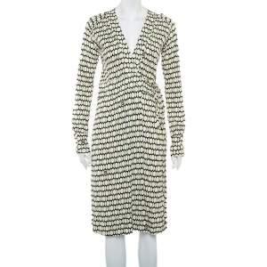 Gucci Cream Printed Knit Long Sleeve Wrap Midi Dress M