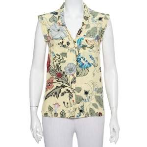 Gucci Yellow Floral Printed Silk Button Front Sleeveless Shirt M
