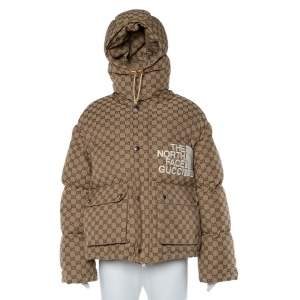 Gucci x The North Face Beige Cotton Canvas Logo Monogram Hooded Puffer Jacket S