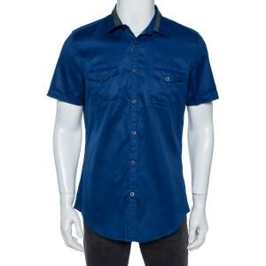 Gucci Blue Cotton Contrast Collar Detail Short Sleeve Skinny Fit Shirt L