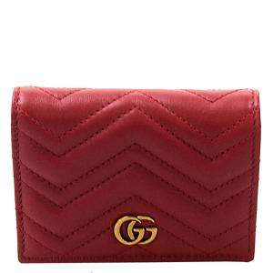 Gucci Red GG Marmont Leather Card Wallet