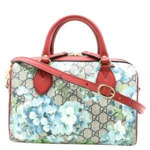 Gucci Beige Blooms GG Supreme Canvas Small Boston Bag