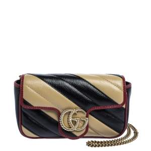 Gucci Black/Beige Diagonal Quilt Leather Mini GG Marmont Torchon Shoulder Bag