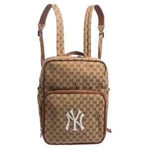 Gucci Beige GG Canvas Medium NY Yankees Backpack