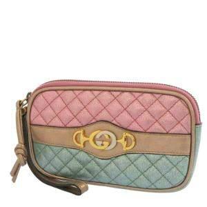 Gucci Beige Leather Trapuntata GG Wristlet