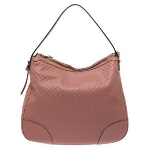 Gucci Pink Leather Microguccissima Bree Hobo