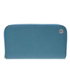 Gucci Turquoise Blue Leather Round Zipper Wallet