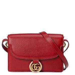 Gucci Red GG Ring Leather Shoulder Bag