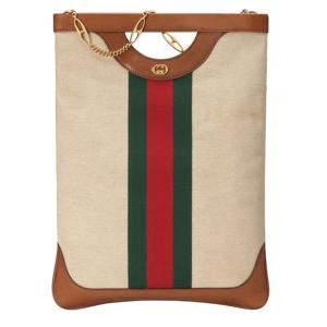 Gucci Beige/Brown Canvas Web Tote Bag