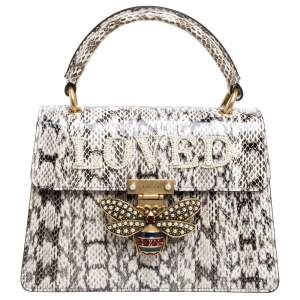 Gucci Black/White Python Queen Margaret Loved Top Handle Bag